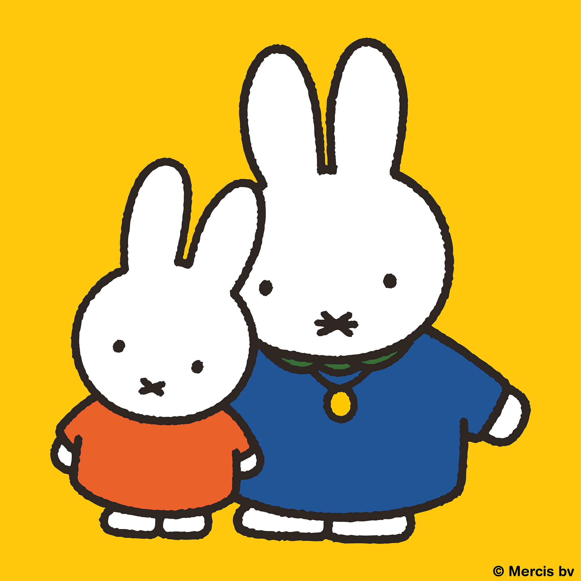 Miffy wearing a red dress dancing with a friend with a yellow background