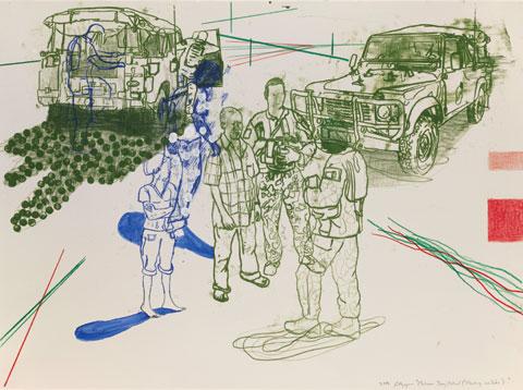 Jon Cattapan 'Maliana day patrol (Meeting the Suko)' 2008 | oil and coloured pencil on paper | AWM ART93986