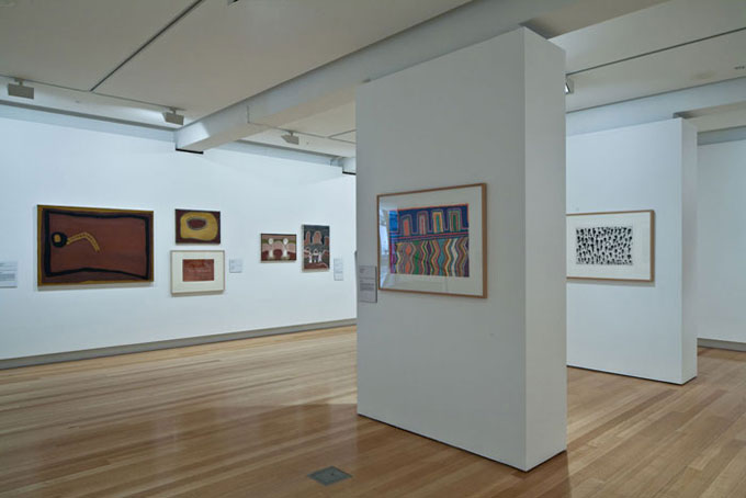 Installation view of 'Traversing borders: Art from the Kimberley' | Photo: Richard Stringer