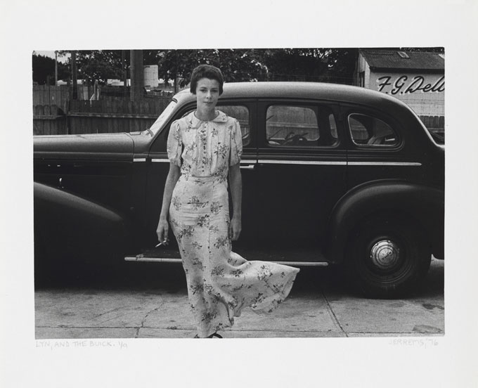 Carol JERREMS 'Lyn and the Buick' 1976 | gelatin silver photograph | National Gallery of Australia, Canberra | Gift of Mrs Joy Jerrems 1981 | copyright Ken Jerrems and the Estate of Lance Jerrems