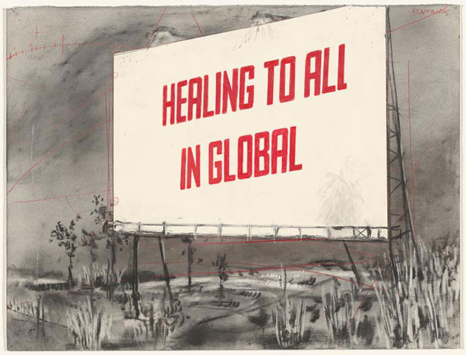 William KENTRIDGE 'Drawing for the film Other faces (healing to all in global)' 2011 | charcoal, pastel and collage | National Gallery of Australia, Canberra | The Poynton Bequest, 2012