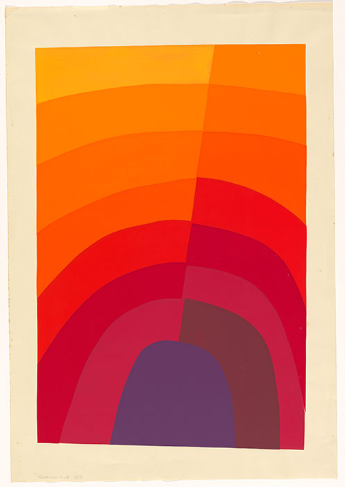 Normana WIGHT, 'Untitled - purple to yellow diagonal' 1967, screenprint, printed in colour inks, from multiple stencils,  National Gallery of Australia, Canberra, gift of the artist 2013. Donated through the Australian Government's Cultural Gifts Program  Courtesy National Gallery of Australia, Canberra