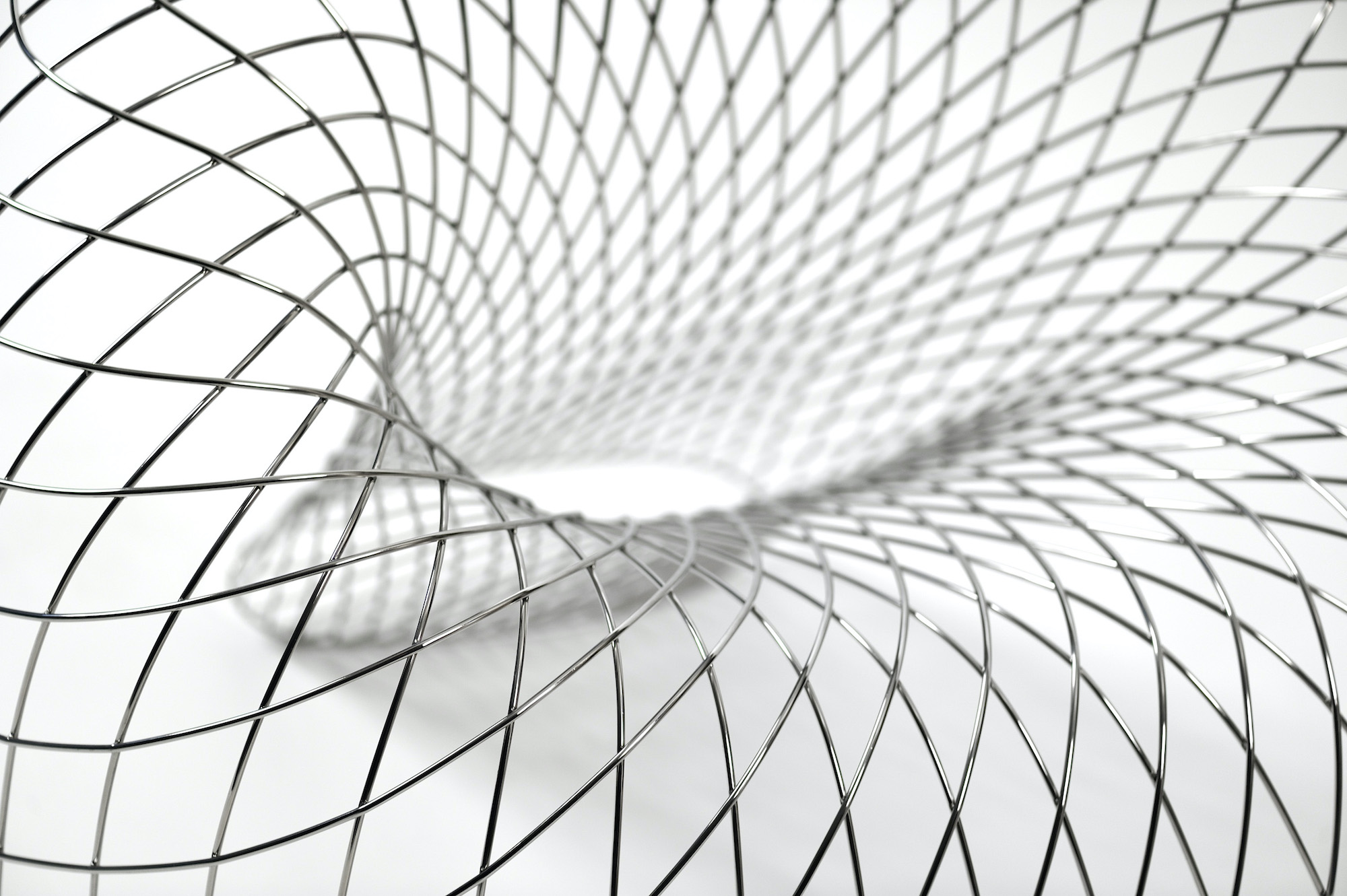 Brodie NEILL  \'Reverb Wire Chair\' (detail) 2010  hand formed, mirror stainless steel rods  Photo: Marzorati Ronchetti  Collection of Patrick Brillet of Patrick Brillet Fine Art Ltd