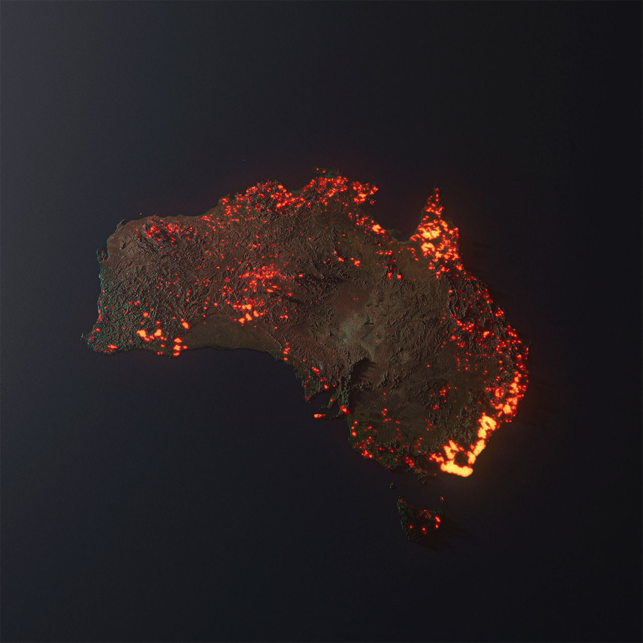 Anthony HEARSEY 'Australia is burning' 2020, digital/3D. Courtesy of the artist. Produced using NASA's FIRMS data.