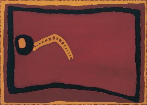 Rover Thomas 'Cyclone Tracy' 1996 | coloured ochres and vegetable gum on canvas | QUT Art Collection | Purchased 1996 with the assistance of various donors through the QUT Foundation