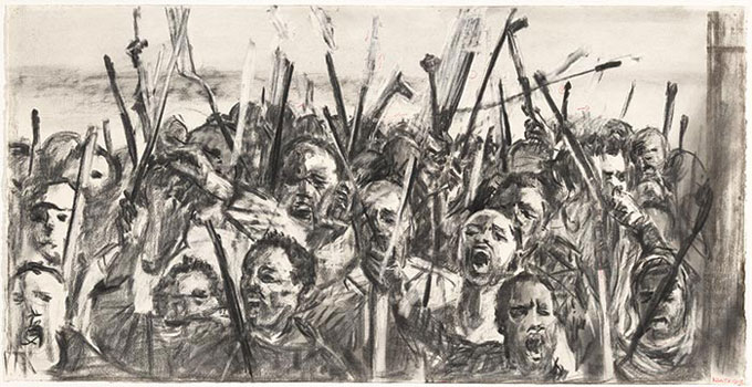 William KENTRIDGE 'Drawing for the film Other faces (protestors)' 2011 | charcoal, pastel and collage | National Gallery of Australia, Canberra | The Poynton Bequest, 2012