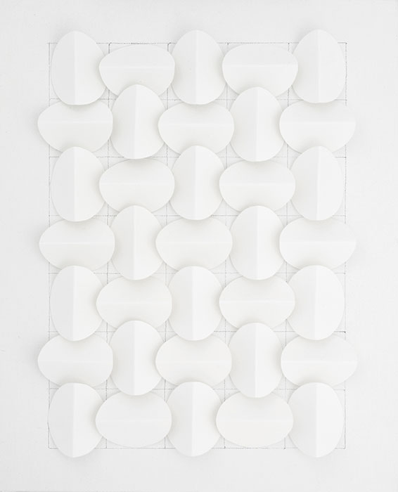 Artwork of 35 oval white shapes on grid with white background