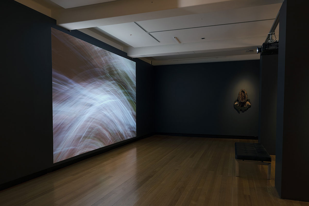 Installation view of 'Rite of Passage', pictured work by Leah King-Smith and Karla Dickens, QUT Art Museum, 2019. Photo by Carl Warner.