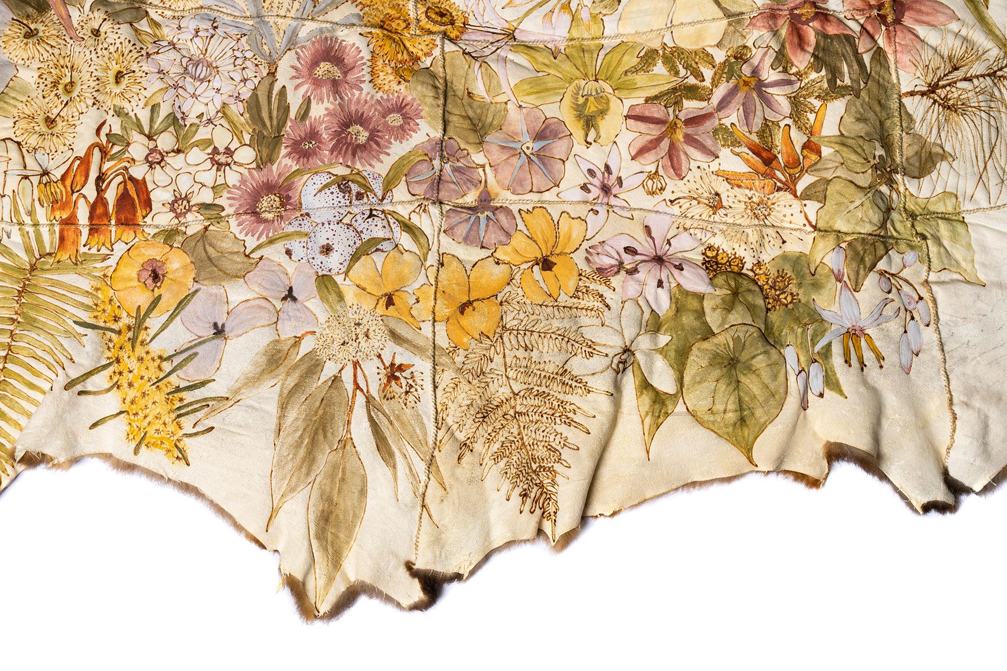 Carol MCGREGOR 'Wreath for Oodgeroo' (detail) 2020 | possum skins, charcoal, ochre, binder medium, waxed thread | Courtesy of the artist | Photo by Louis Lim
