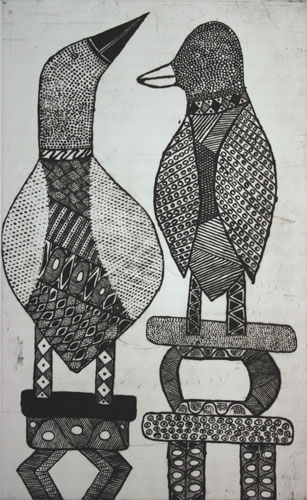 Janice Murray 'Yirra tokwampini' (Two birds) 1997 | etching and aquatint | QUT Art Collection | Purchased 1998 with the assistance of the Visual Arts/Craft Fund of the Australia Council