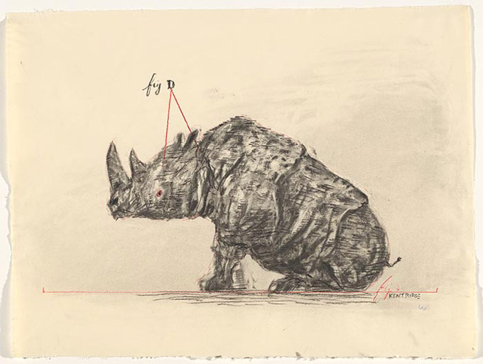 William KENTRIDGE 'Drawing for The Magic Flute (Tamino's Rhinoceros)' 2004 | charcoal, graphite | National Gallery of Australia, Canberra | The Poynton Bequest, 2013