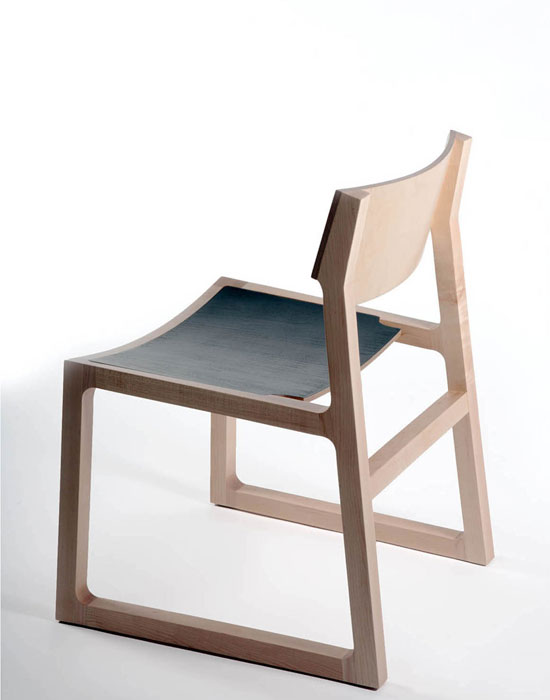 Jon GOULDER 'Sled chair' 2012 | stained plywood and upholstery | Photo: Michelle Taylor