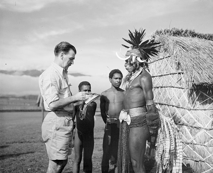 Photographer unknown 'Portrait of William Dobell sketching an unidentified man in New Guinea' 1949 | National Library of Australia