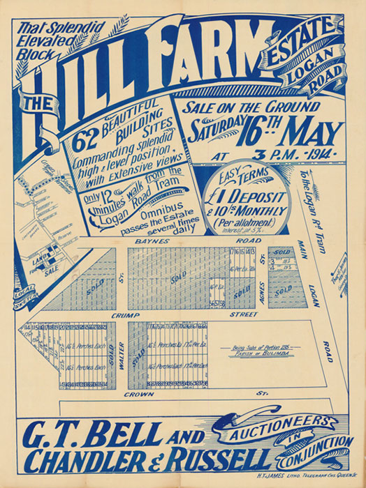 Thor H JENSEN 'The Hill Farm Estate, Logan Road : sale on the ground Saturday 16th May' 1914 | Brisbane : H. T. James, Litho | Image © State Library of Queensland