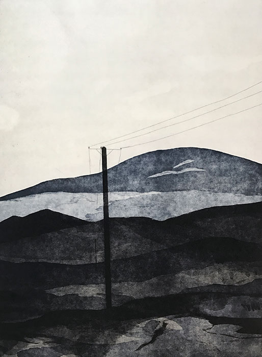 Olivia MORONEY, 'Between lines and hills' 2017, etching and aquatint, edition 4/5. Courtesy the artist and Handmark Gallery, Tasmania.