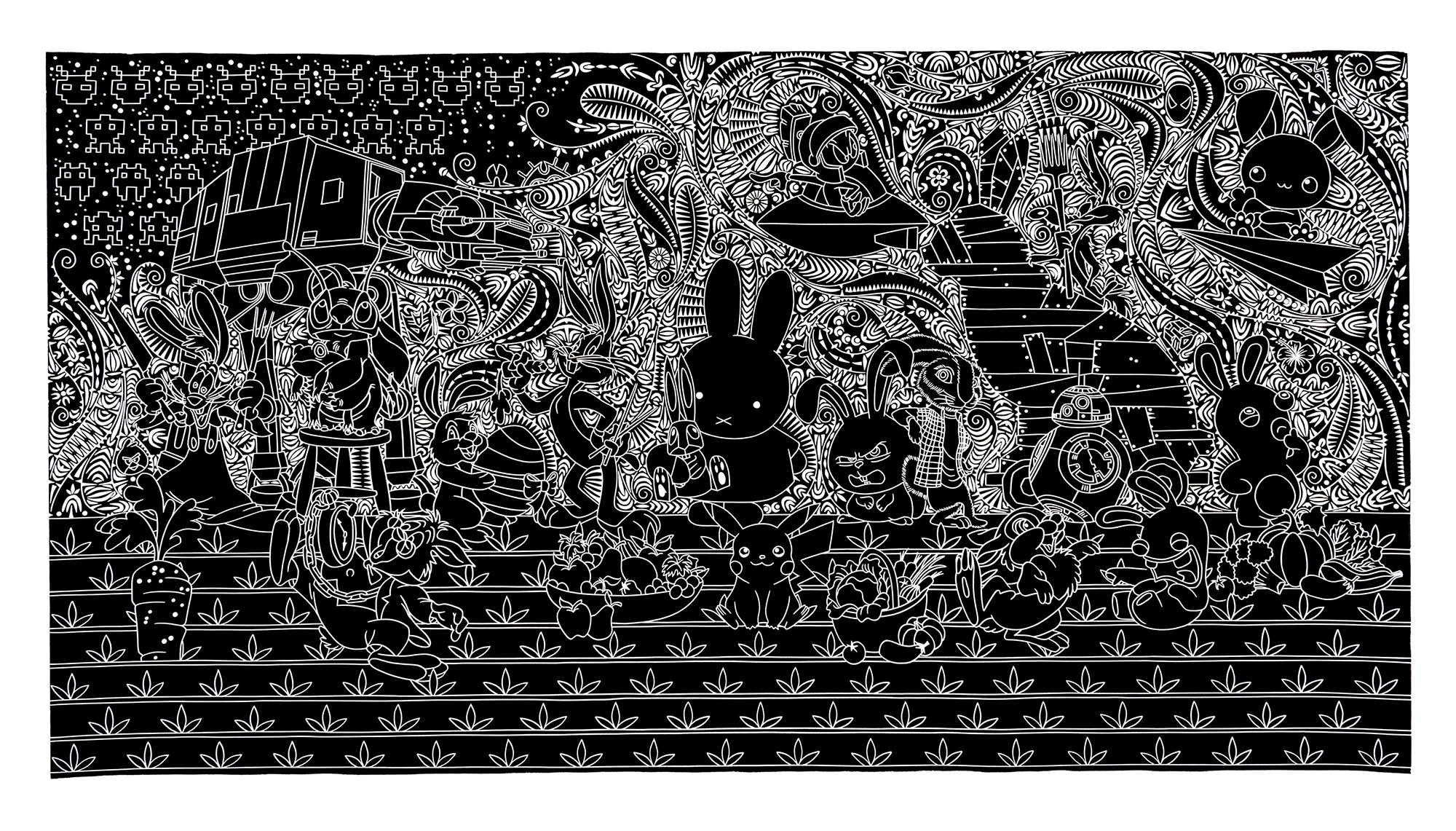 black and white etching of miffy the bunny