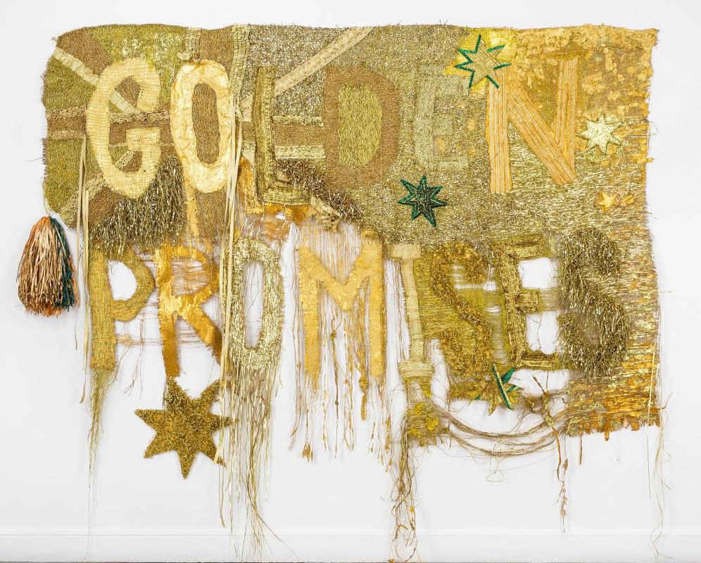 Raquel ORMELLA 'Wealth for toil #1' 2014 | nylon, acrylic and glitter on hessian | QUT Art Collection | Purchased 2017