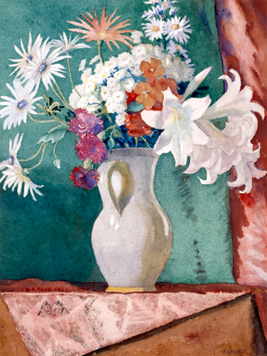 Vida Lahey 'Mainly lilies' 1946 | Watercolour | QUT Art Collection | Purchased by student donations, 1946