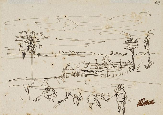 William DOBELL 'New Guinea harvest' c.1949 | ink on paper | Newcastle Art Gallery | Gift of the Sir William Dobell Art Foundation 1975