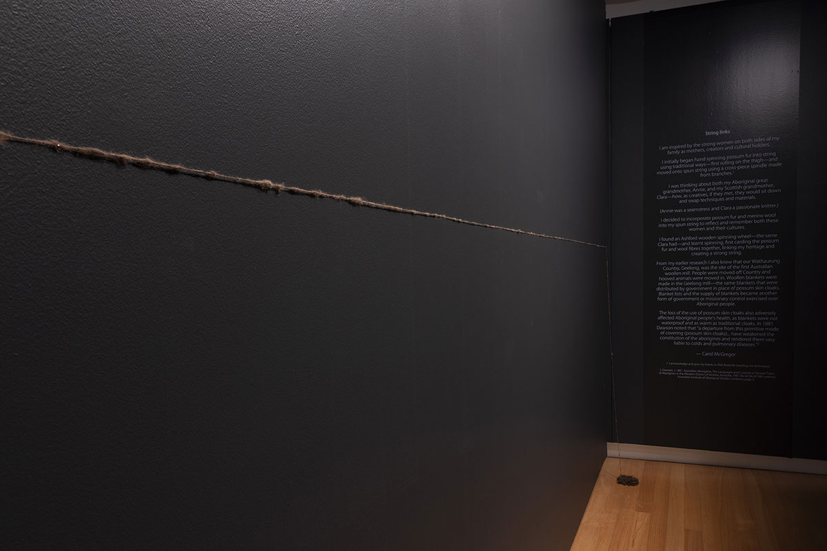 Installation view of 'Rite of Passage', pictured work by Carol McGregor, QUT Art Museum, 2019. Photo by Carl Warner.