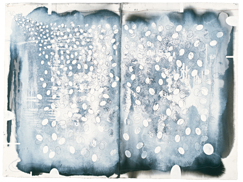 Ian Friend 'Joy at death itself: Breath (For Santiago Bose)' 2002-2007 | Indian ink, gouache and crayon | QUT Art Collection | Purchased 2008