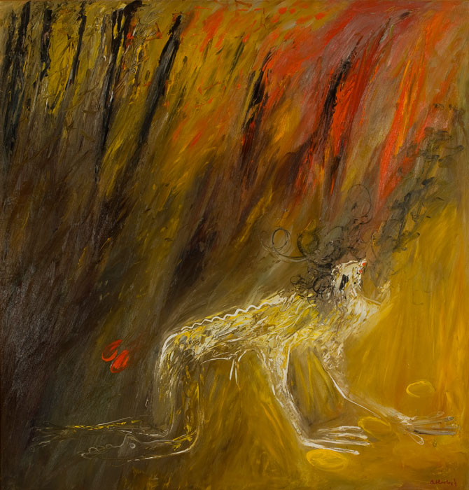 Arthur BOYD 'Nebuchadnezzar in a fire' c1969 | oil on canvas | Bundanon Trust Collection