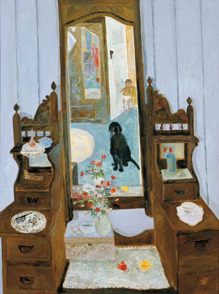 William ROBINSON 'Interior with black dog' 2013 | oil on canvas | QUT Art Collection | Purchased through the William Robinson Art Collection Fund, 2013