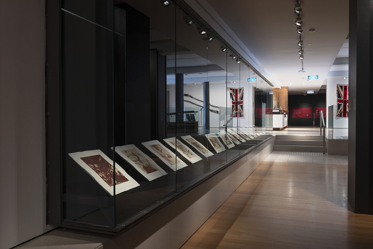 Installation view of 'Rite of Passage', pictured work by Judy Watson and Karla Dickens, QUT Art Museum, 2019. Photo by Carl Warner.