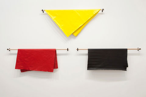 Archie Moore 'Dermis' 2012 | acrylic paint, wooden dowel, steel brackets | QUT Art Collection | Purchased 2012 | Photo: Jamie North