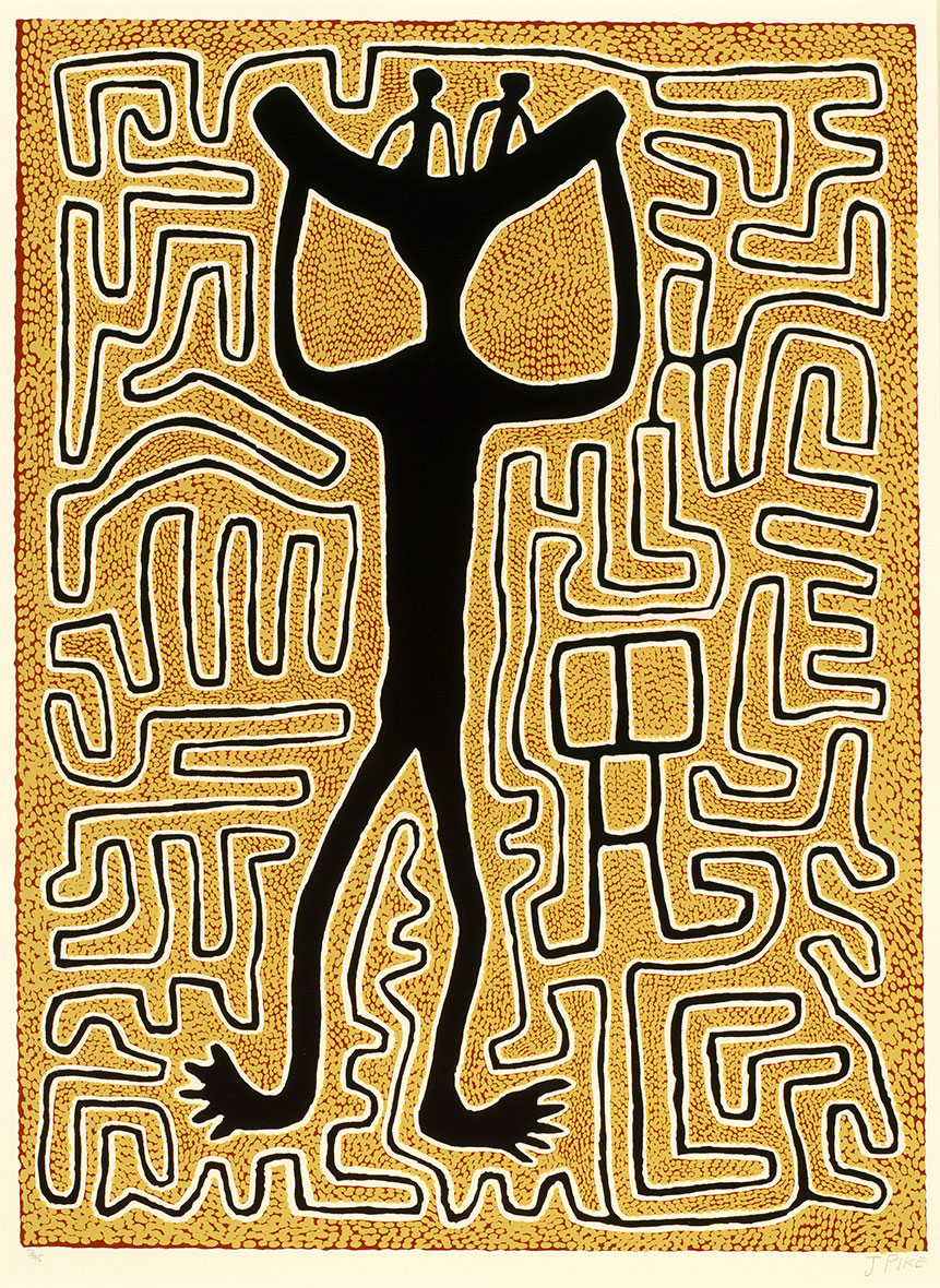 Jimmy PIKE (Walmatjarri people) 'Woman carrying her two boys' 1990 | colour screenprint | QUT Art Collection | Purchased 1993