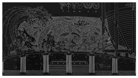 Brian Robinson 'As the rains fell and the seas rose' 2011 | Linocut print