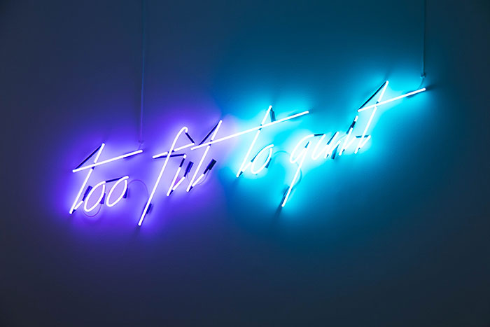 Min WONG   'Too fit to quit' 2017   neon lighting   Courtesy the artist