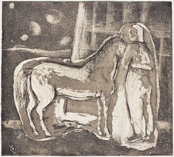 Margaret CILENTO 'Boy and pony' 1947 | etching and aquatint | QUT Art Collection | Gift of the Half Dozen Group of Artists, 1949