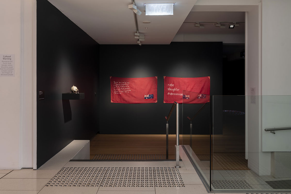Installation view of 'Rite of Passage', pictured work by Glennys Briggs and Judy Watson, QUT Art Museum, 2019. Photo by Carl Warner.