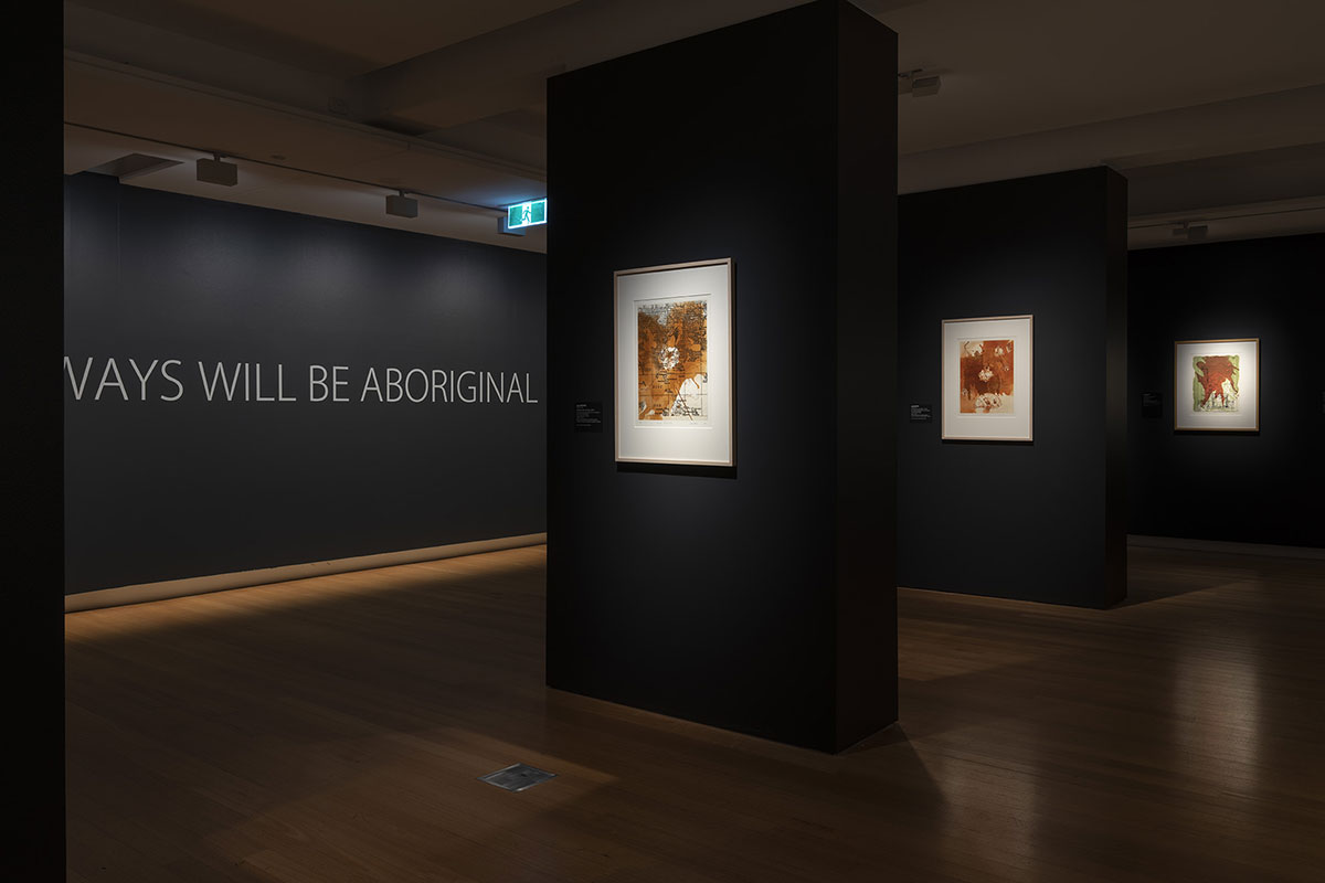 Installation view of 'Rite of Passage', pictured work by Judy Watson, QUT Art Museum, 2019. Photo by Carl Warner.
