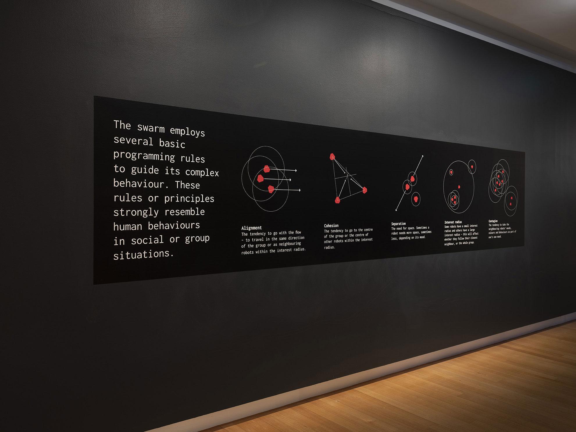 Installation view of 'Empathy swarm' (17 August - 27 October), QUT Art Museum, 2019. Image copyright Carl Warner.