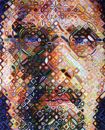 Chuck Close 'Self portrait' 2009 | colour woodblock | QUT Art Collection | Purchased 2010 | copyright Chuck Close, courtesy The Pace Gallery