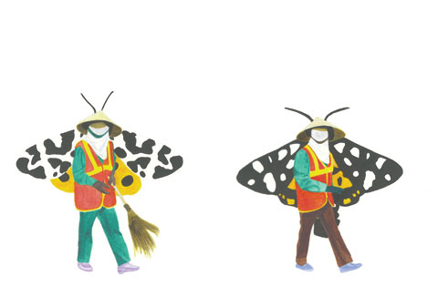 Lucy Griggs 'Butterfly lady sweepers (Full circle)' 2010 | watercolour on paper | Private collection