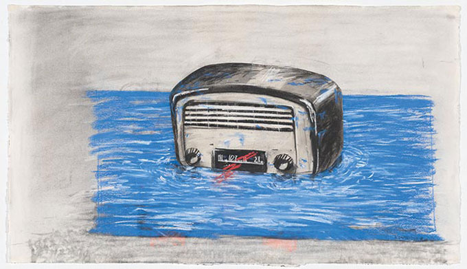 William KENTRIDGE 'Bakelite radio' 1994 | charcoal, pastel and collage | National Gallery of Australia, Canberra | The Poynton Bequest, 2013