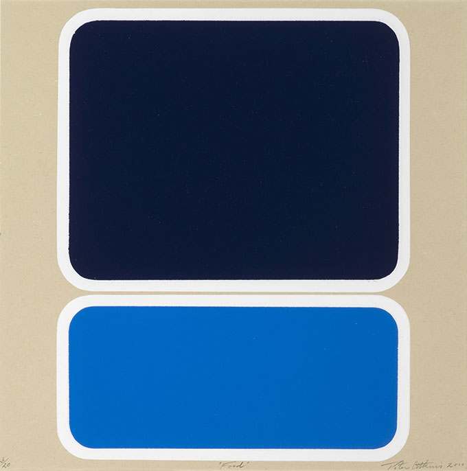 Artwork of two shapes with white trim – one large dark blue square, one light blue rectangle