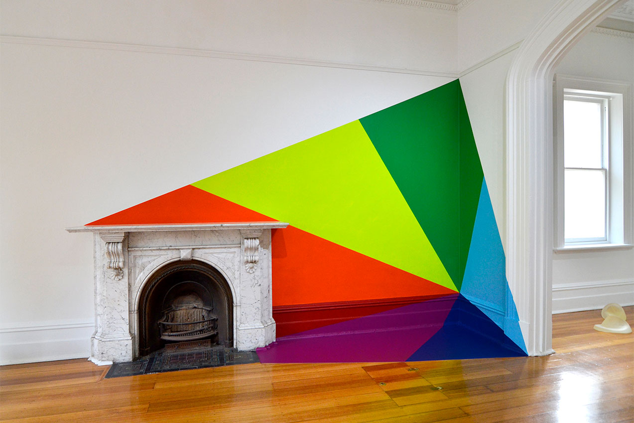 Emma COULTER, 'spatial deconstruction #15 (gemstone and fireplace)' 2016, synthetic polymer paint on architecture, existing fireplace, Linden New Art, St Kilda, Melbourne. Photo: Emma Coulter, Winner, Linden Art Prize.