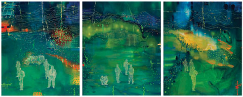 Jon Cattapan 'Night patrols (Around Maliana)' 2009 | oil on belgian linen | triptych, (three panels) | AWM ART93993.001-003